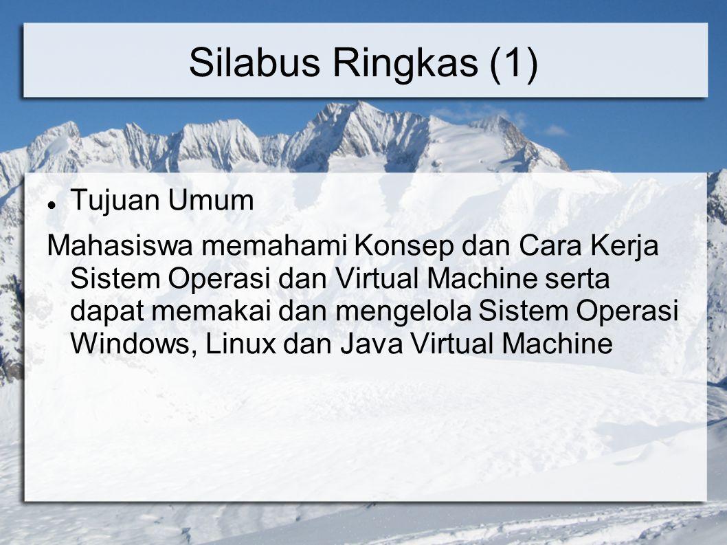 Silabus Ringkas (2) Topik Bahasan - Overview Sistem Operasi - Overview Sistem Komputer (Pengelolaan H/W) - Manajemen Proses - Manajemen Memori - Manajemen I/O dan File - Proteksi dan Pengamanan Sistem Operasi - Sistem Operasi untuk Sistem terdistribusi