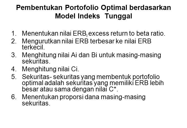 Pembentukan Portofolio Optimal berdasarkan Model Indeks Tunggal 1.Menentukan nilai ERB i excess return to beta ratio. 2.Mengurutkan nilai ERB terbesar
