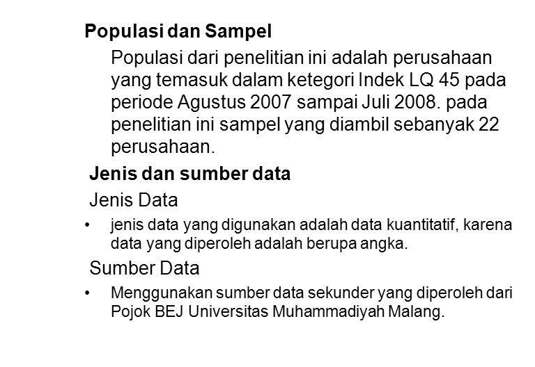 Populasi dan Sampel Populasi dari penelitian ini adalah perusahaan yang temasuk dalam ketegori Indek LQ 45 pada periode Agustus 2007 sampai Juli 2008.