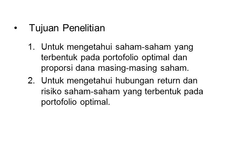 Tujuan Penelitian 1.Untuk mengetahui saham-saham yang terbentuk pada portofolio optimal dan proporsi dana masing-masing saham. 2.Untuk mengetahui hubu