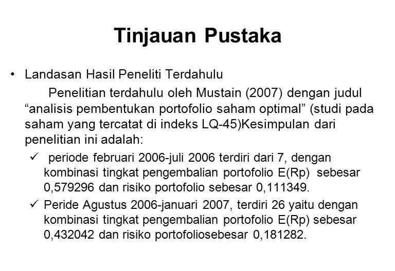 """Tinjauan Pustaka Landasan Hasil Peneliti Terdahulu Penelitian terdahulu oleh Mustain (2007) dengan judul """"analisis pembentukan portofolio saham optima"""
