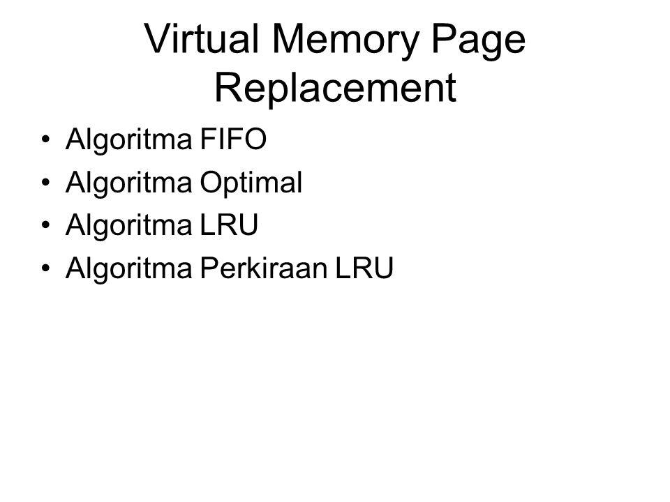 Virtual Memory Page Replacement Algoritma FIFO Algoritma Optimal Algoritma LRU Algoritma Perkiraan LRU