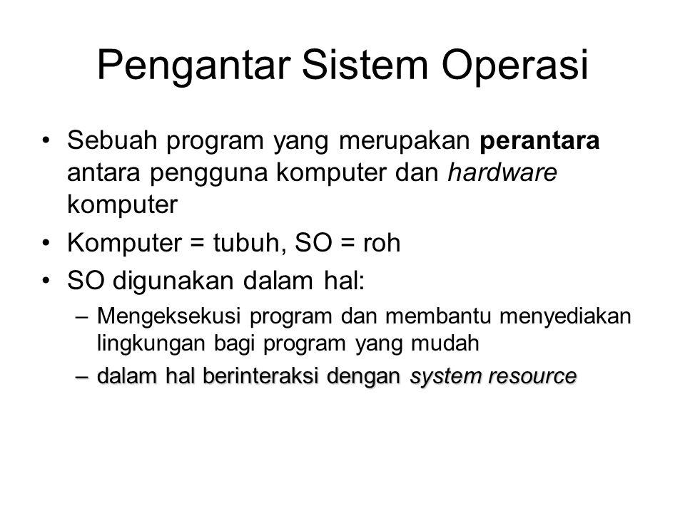 Pengantar Sistem Operasi Sebuah program yang merupakan perantara antara pengguna komputer dan hardware komputer Komputer = tubuh, SO = roh SO digunaka