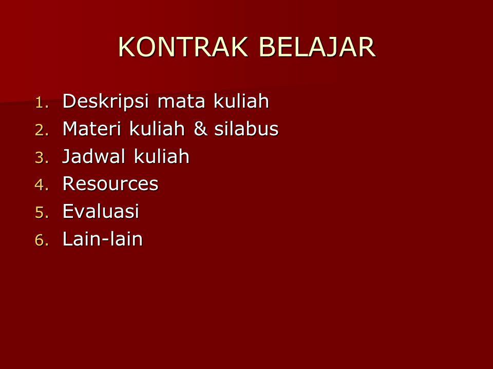 KONTRAK BELAJAR 1. Deskripsi mata kuliah 2. Materi kuliah & silabus 3. Jadwal kuliah 4. Resources 5. Evaluasi 6. Lain-lain