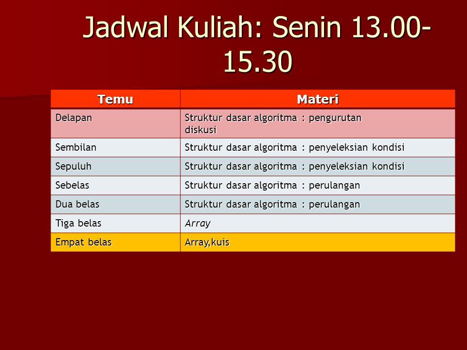 Jadwal Kuliah: Senin 13.00- 15.30 TemuMateri Delapan Struktur dasar algoritma : pengurutan diskusi Sembilan Struktur dasar algoritma : penyeleksian ko
