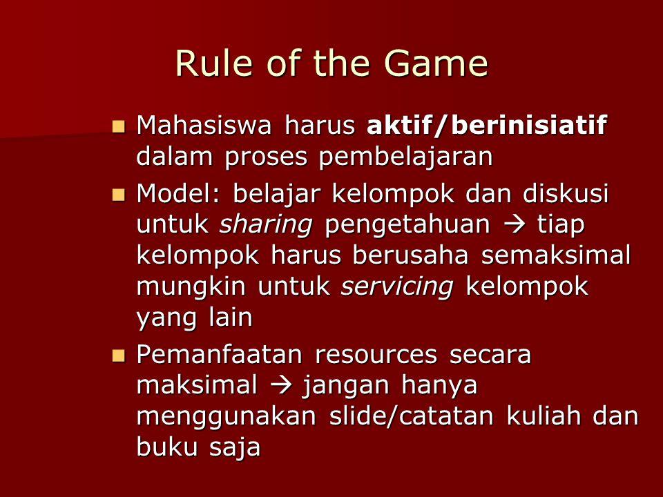 Rule of the Game Mahasiswa harus aktif/berinisiatif dalam proses pembelajaran Mahasiswa harus aktif/berinisiatif dalam proses pembelajaran Model: bela
