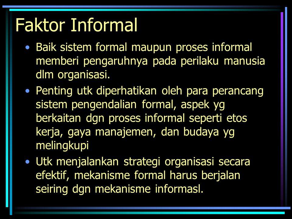 Faktor Informal Baik sistem formal maupun proses informal memberi pengaruhnya pada perilaku manusia dlm organisasi. Penting utk diperhatikan oleh para
