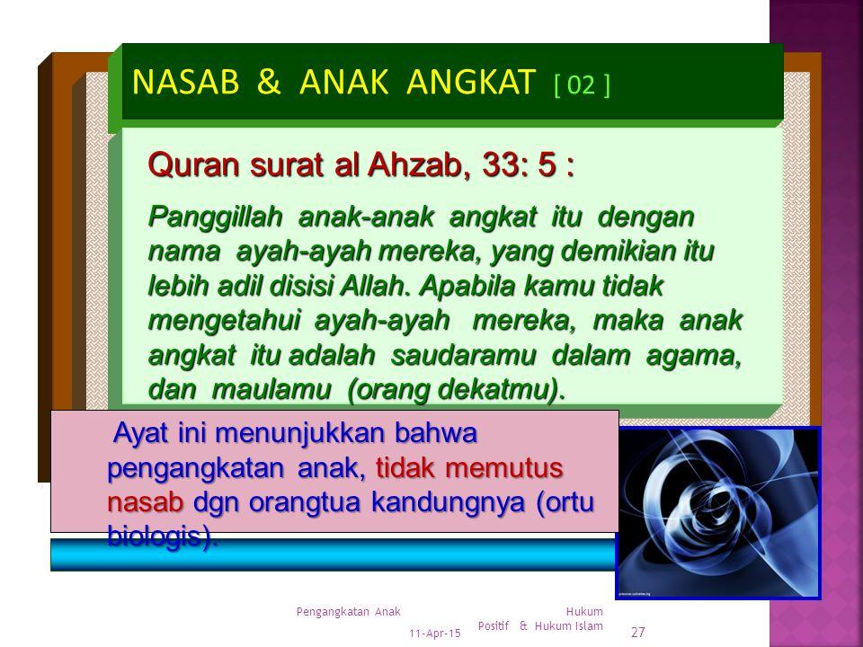 11-Apr-15 Pengangkatan Anak Hukum Positif & Hukum Islam 26 NASAB & ANAK ANGKAT [ 01 ] Drs.H.A.Mukhsin Asyrof, SH,MH Quran surat al Ahzab, 33: 4 : Tida