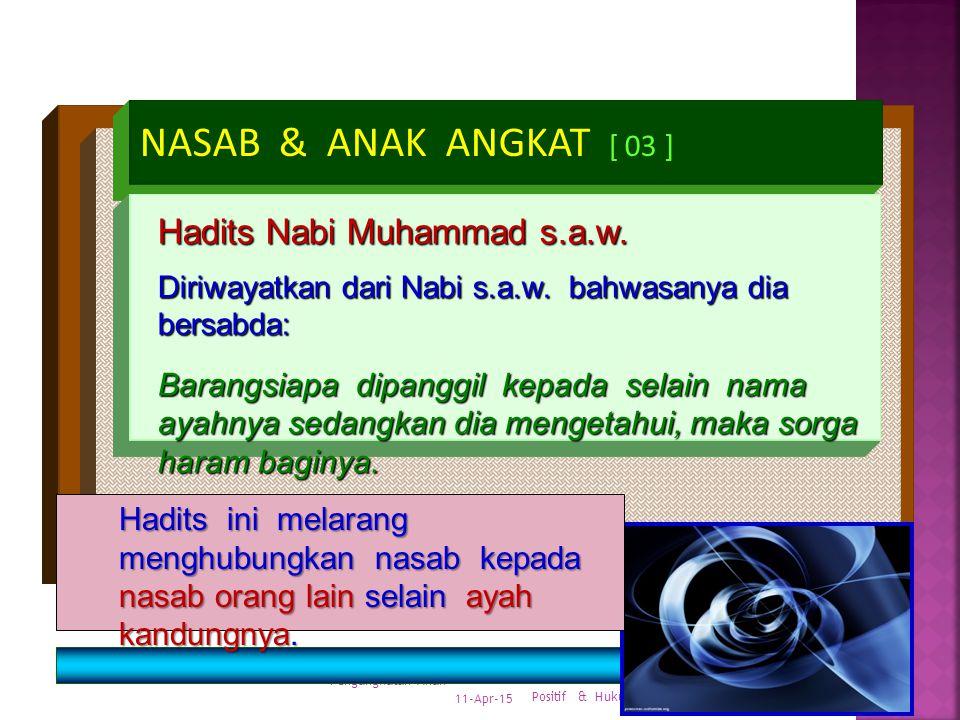 11-Apr-15 Pengangkatan Anak Hukum Positif & Hukum Islam 27 NASAB & ANAK ANGKAT [ 02 ] Quran surat al Ahzab, 33: 5 : Panggillah anak-anak angkat itu de