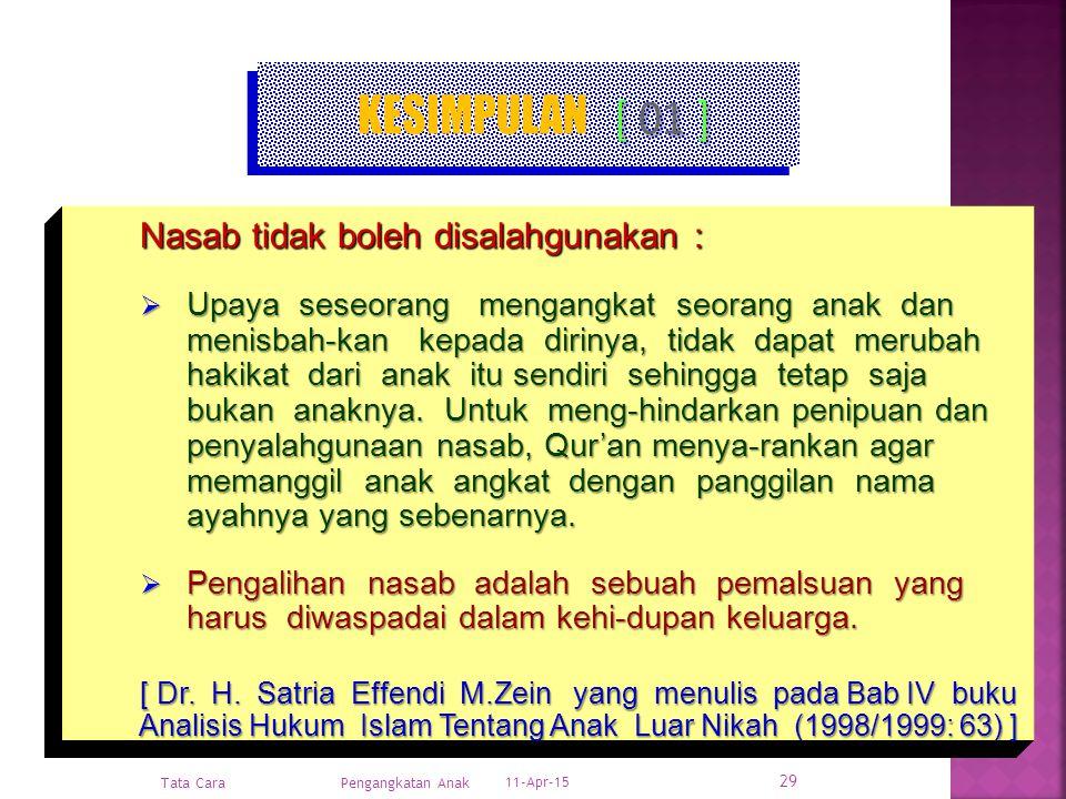 11-Apr-15 Pengangkatan Anak Hukum Positif & Hukum Islam 28 NASAB & ANAK ANGKAT [ 03 ] Hadits Nabi Muhammad s.a.w. Diriwayatkan dari Nabi s.a.w. bahwas