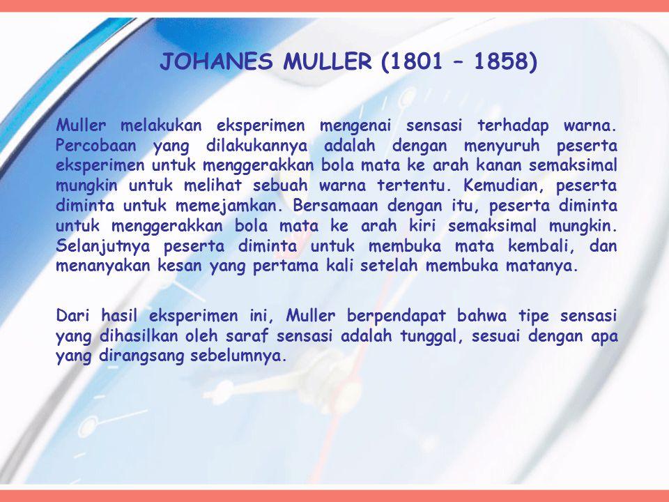 JOHANES MULLER (1801 – 1858) Muller melakukan eksperimen mengenai sensasi terhadap warna. Percobaan yang dilakukannya adalah dengan menyuruh peserta e