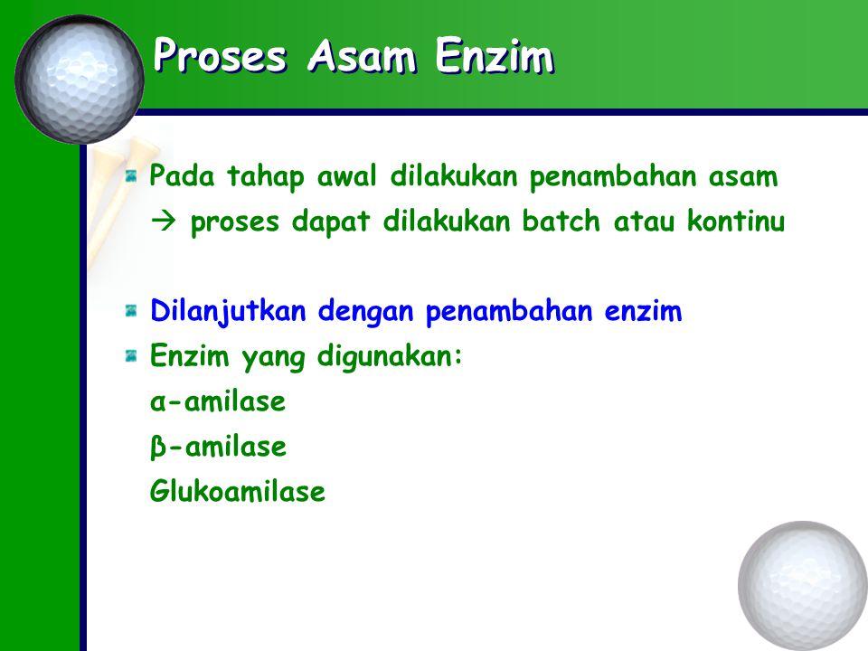 Proses Asam Enzim Pada tahap awal dilakukan penambahan asam  proses dapat dilakukan batch atau kontinu Dilanjutkan dengan penambahan enzim Enzim yang digunakan: α-amilase β-amilase Glukoamilase