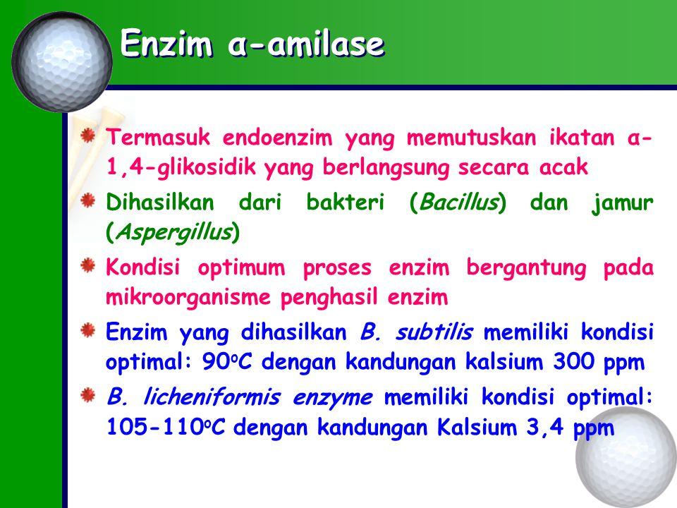 Enzim α-amilase Termasuk endoenzim yang memutuskan ikatan α- 1,4-glikosidik yang berlangsung secara acak Dihasilkan dari bakteri (Bacillus) dan jamur (Aspergillus) Kondisi optimum proses enzim bergantung pada mikroorganisme penghasil enzim Enzim yang dihasilkan B.