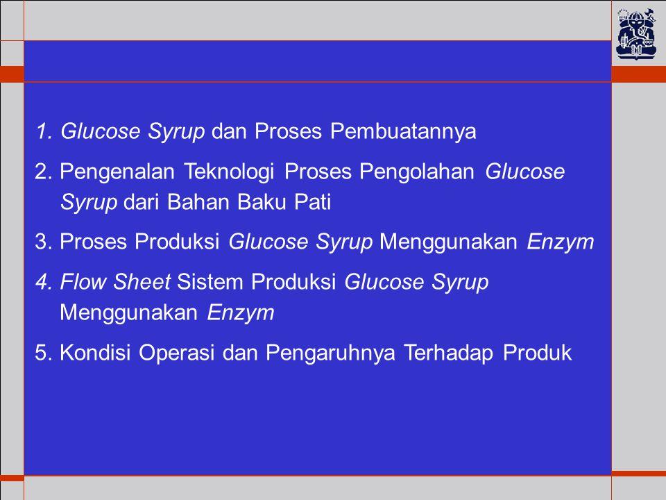 1.Glucose Syrup dan Proses Pembuatannya 2.Pengenalan Teknologi Proses Pengolahan Glucose Syrup dari Bahan Baku Pati 3.Proses Produksi Glucose Syrup Menggunakan Enzym 4.Flow Sheet Sistem Produksi Glucose Syrup Menggunakan Enzym 5.Kondisi Operasi dan Pengaruhnya Terhadap Produk