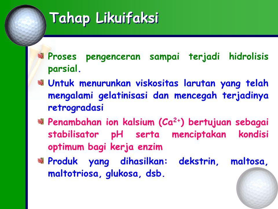 Tahap Likuifaksi Proses pengenceran sampai terjadi hidrolisis parsial.