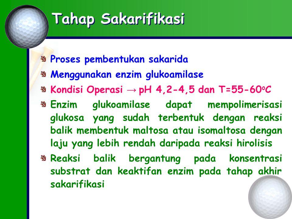Tahap Sakarifikasi Proses pembentukan sakarida Menggunakan enzim glukoamilase Kondisi Operasi → pH 4,2-4,5 dan T=55-60 o C Enzim glukoamilase dapat mempolimerisasi glukosa yang sudah terbentuk dengan reaksi balik membentuk maltosa atau isomaltosa dengan laju yang lebih rendah daripada reaksi hirolisis Reaksi balik bergantung pada konsentrasi substrat dan keaktifan enzim pada tahap akhir sakarifikasi