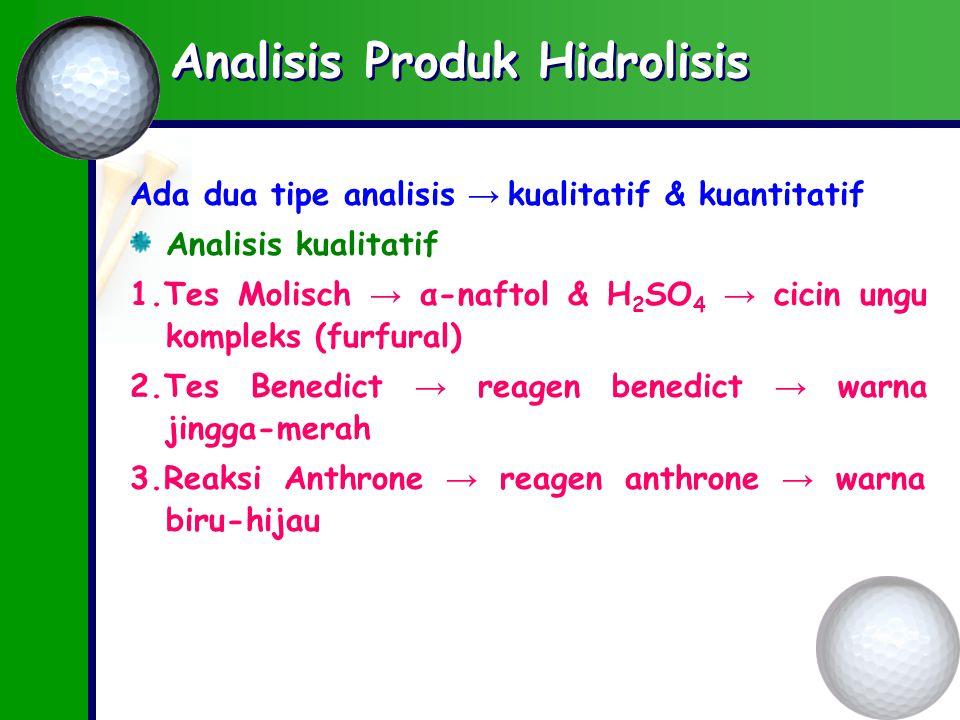 Analisis Produk Hidrolisis Ada dua tipe analisis → kualitatif & kuantitatif Analisis kualitatif 1.Tes Molisch → α-naftol & H 2 SO 4 → cicin ungu kompleks (furfural) 2.Tes Benedict → reagen benedict → warna jingga-merah 3.Reaksi Anthrone → reagen anthrone → warna biru-hijau