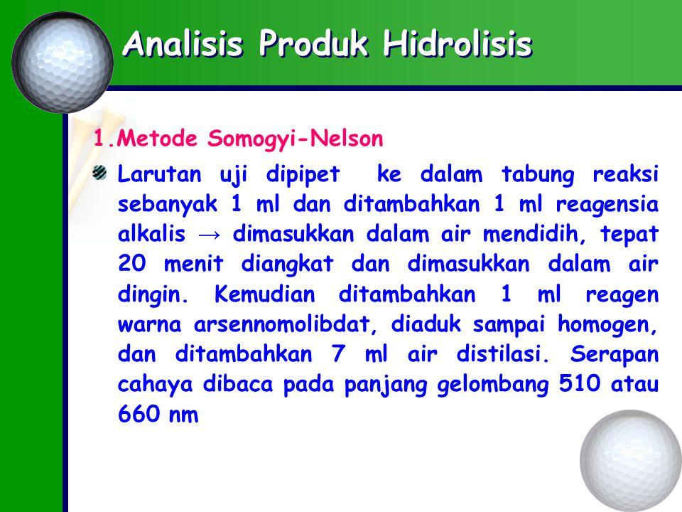 Analisis Produk Hidrolisis 1.Metode Somogyi-Nelson Larutan uji dipipet ke dalam tabung reaksi sebanyak 1 ml dan ditambahkan 1 ml reagensia alkalis → dimasukkan dalam air mendidih, tepat 20 menit diangkat dan dimasukkan dalam air dingin.