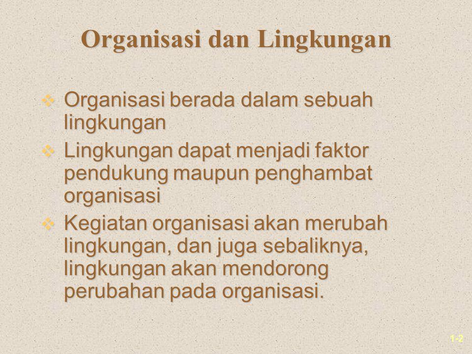1-2 Organisasi dan Lingkungan v Organisasi berada dalam sebuah lingkungan v Lingkungan dapat menjadi faktor pendukung maupun penghambat organisasi v Kegiatan organisasi akan merubah lingkungan, dan juga sebaliknya, lingkungan akan mendorong perubahan pada organisasi.
