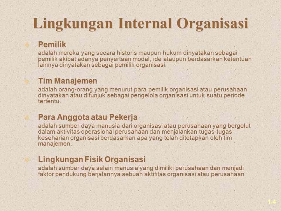 1-4 Lingkungan Internal Organisasi v Pemilik adalah mereka yang secara historis maupun hukum dinyatakan sebagai pemilik akibat adanya penyertaan modal, ide ataupun berdasarkan ketentuan lainnya dinyatakan sebagai pemilik organisasi.