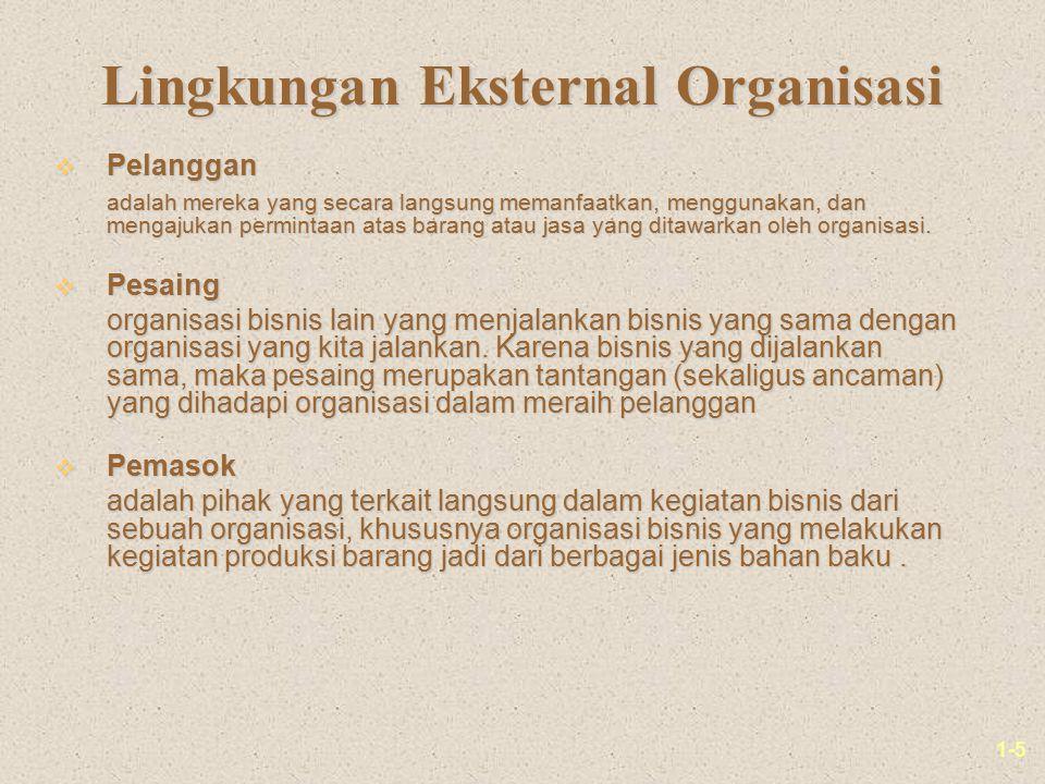 1-5 Lingkungan Eksternal Organisasi v Pelanggan adalah mereka yang secara langsung memanfaatkan, menggunakan, dan mengajukan permintaan atas barang atau jasa yang ditawarkan oleh organisasi.