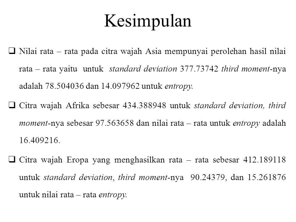 Kesimpulan  Nilai rata – rata pada citra wajah Asia mempunyai perolehan hasil nilai rata – rata yaitu untuk standard deviation 377.73742 third moment-nya adalah 78.504036 dan 14.097962 untuk entropy.