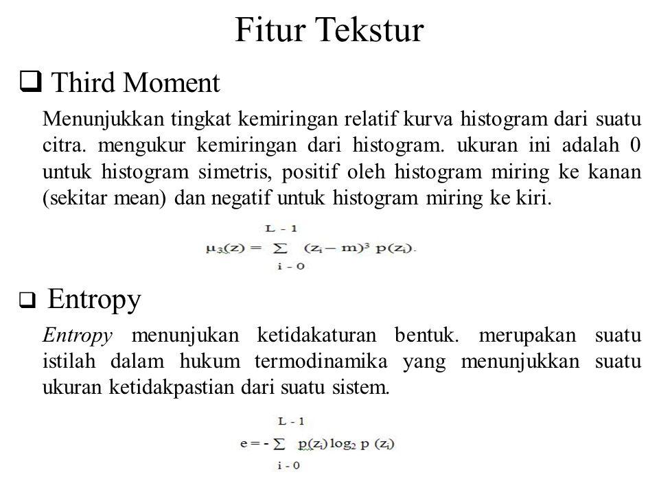 Fitur Tekstur  Third Moment Menunjukkan tingkat kemiringan relatif kurva histogram dari suatu citra. mengukur kemiringan dari histogram. ukuran ini a