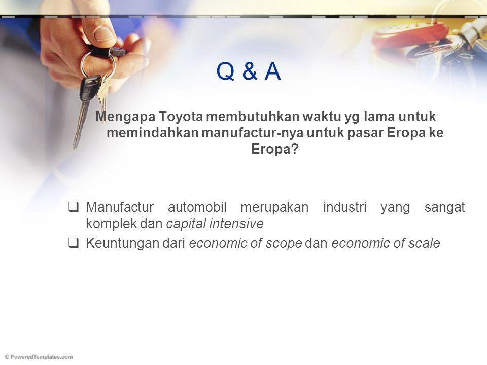 Q & A Mengapa Toyota membutuhkan waktu yg lama untuk memindahkan manufactur-nya untuk pasar Eropa ke Eropa?  Manufactur automobil merupakan industri