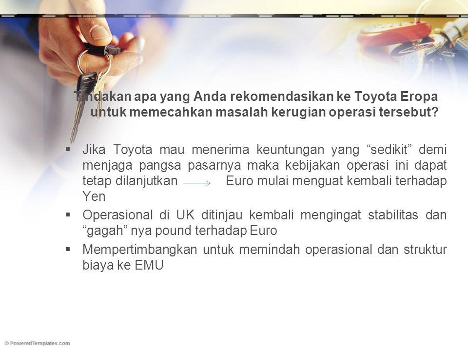 """Tindakan apa yang Anda rekomendasikan ke Toyota Eropa untuk memecahkan masalah kerugian operasi tersebut?  Jika Toyota mau menerima keuntungan yang """""""