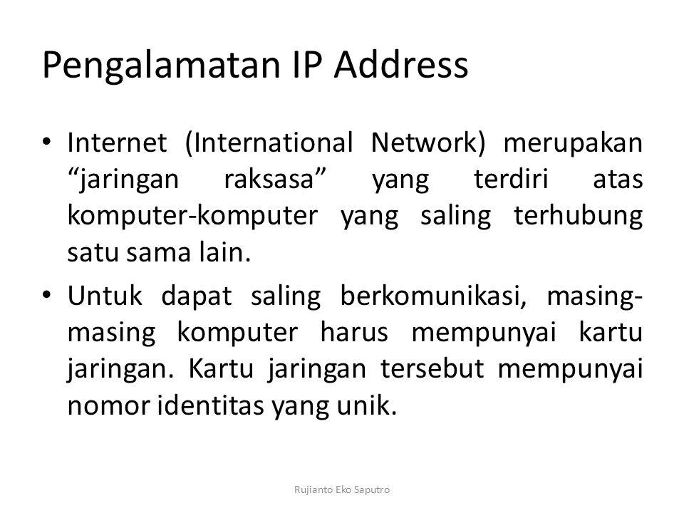 "Pengalamatan IP Address Internet (International Network) merupakan ""jaringan raksasa"" yang terdiri atas komputer-komputer yang saling terhubung satu s"