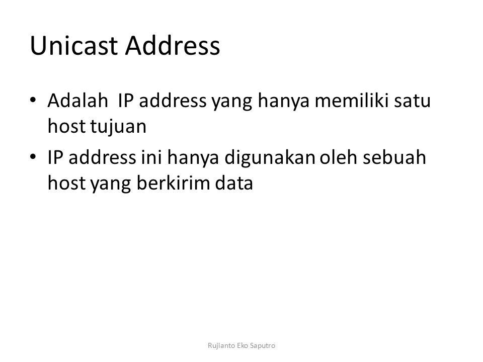 Unicast Address Adalah IP address yang hanya memiliki satu host tujuan IP address ini hanya digunakan oleh sebuah host yang berkirim data Rujianto Eko