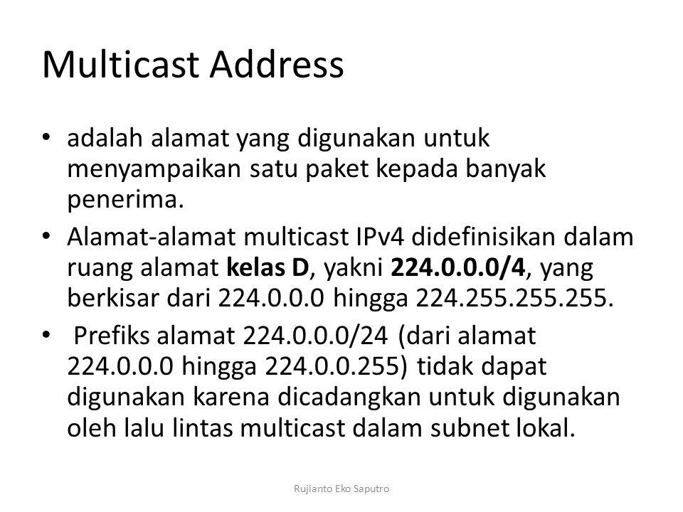 Multicast Address adalah alamat yang digunakan untuk menyampaikan satu paket kepada banyak penerima. Alamat-alamat multicast IPv4 didefinisikan dalam