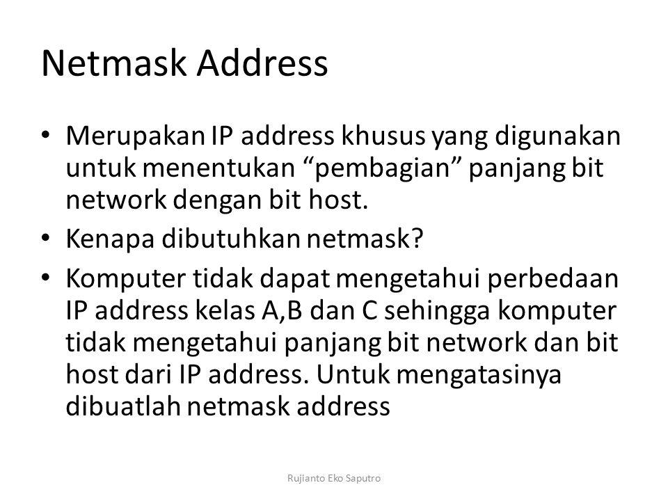 Netmask Address Merupakan IP address khusus yang digunakan untuk menentukan pembagian panjang bit network dengan bit host.