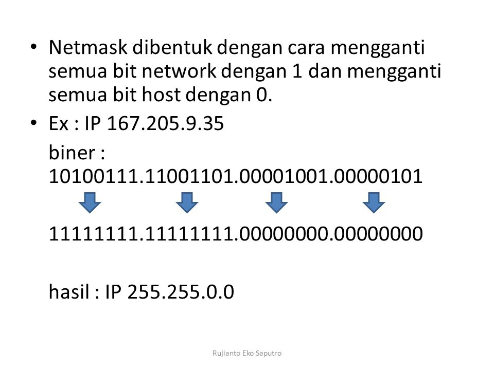 Netmask dibentuk dengan cara mengganti semua bit network dengan 1 dan mengganti semua bit host dengan 0.