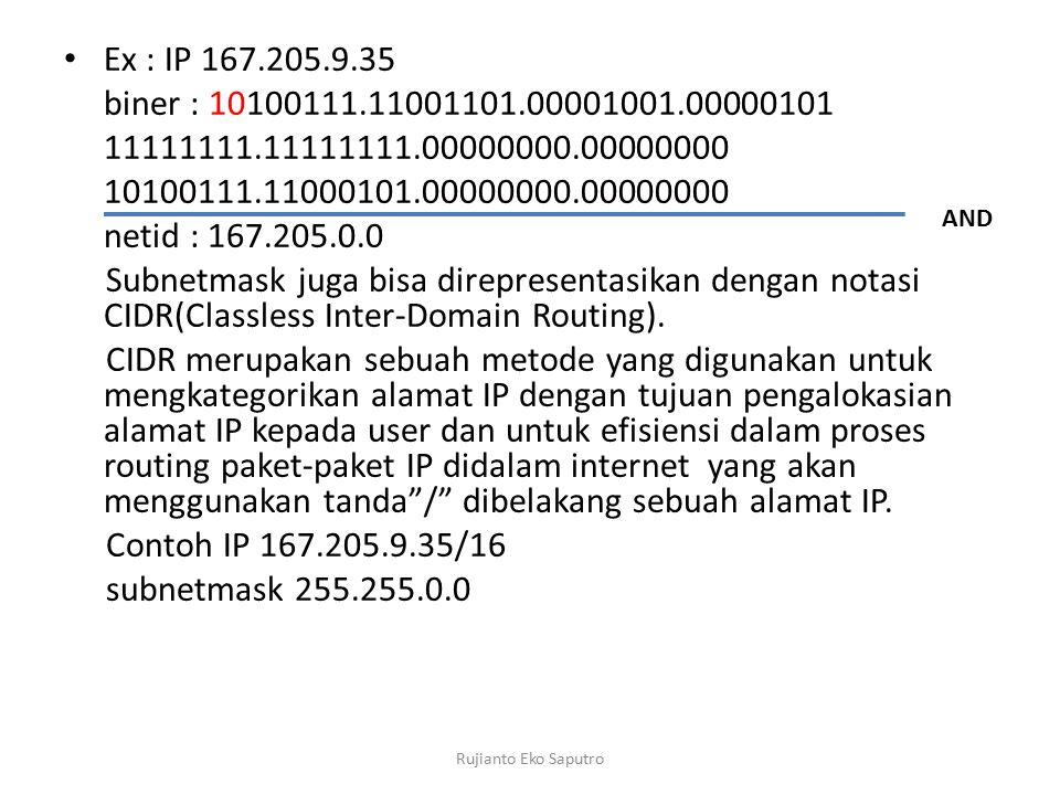Ex : IP 167.205.9.35 biner : 10100111.11001101.00001001.00000101 11111111.11111111.00000000.00000000 10100111.11000101.00000000.00000000 netid : 167.205.0.0 Subnetmask juga bisa direpresentasikan dengan notasi CIDR(Classless Inter-Domain Routing).