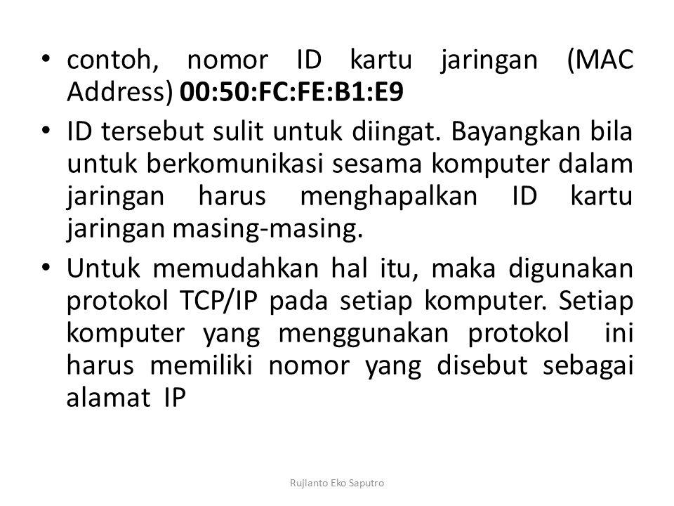 contoh, nomor ID kartu jaringan (MAC Address) 00:50:FC:FE:B1:E9 ID tersebut sulit untuk diingat. Bayangkan bila untuk berkomunikasi sesama komputer da