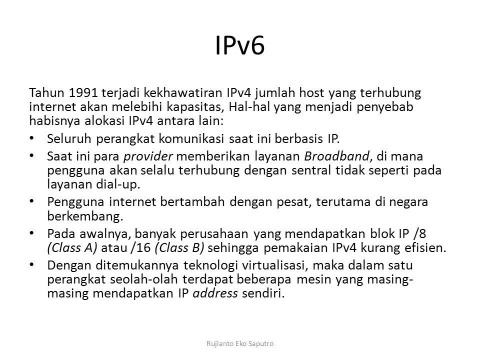 IPv6 Tahun 1991 terjadi kekhawatiran IPv4 jumlah host yang terhubung internet akan melebihi kapasitas, Hal-hal yang menjadi penyebab habisnya alokasi IPv4 antara lain: Seluruh perangkat komunikasi saat ini berbasis IP.