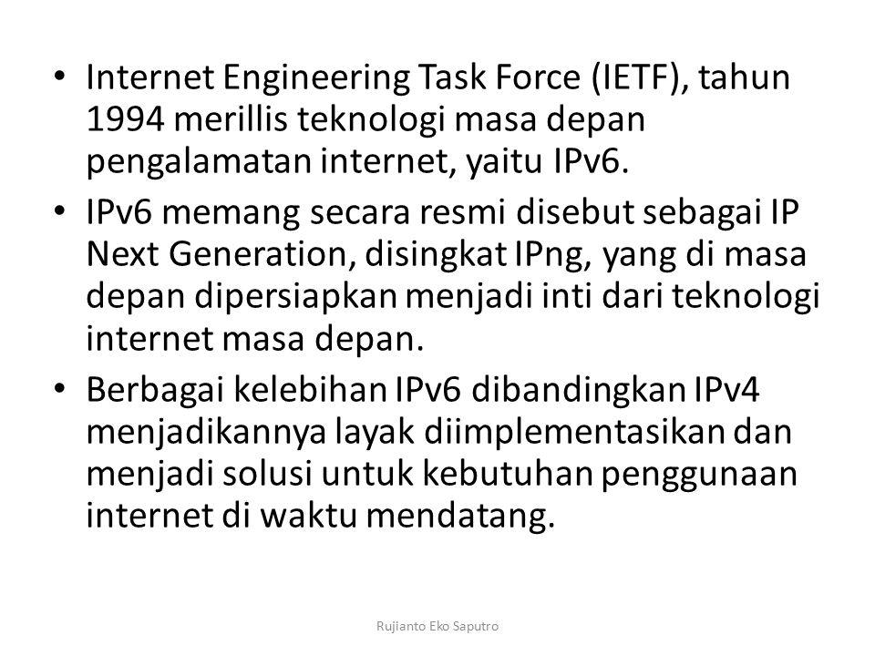 Internet Engineering Task Force (IETF), tahun 1994 merillis teknologi masa depan pengalamatan internet, yaitu IPv6. IPv6 memang secara resmi disebut s