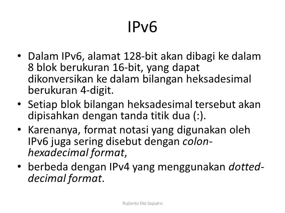 IPv6 Dalam IPv6, alamat 128-bit akan dibagi ke dalam 8 blok berukuran 16-bit, yang dapat dikonversikan ke dalam bilangan heksadesimal berukuran 4-digit.