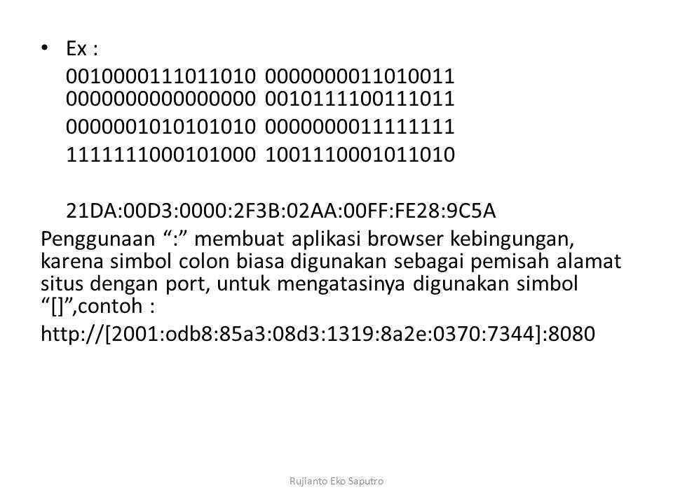 Ex : 0010000111011010 0000000011010011 0000000000000000 0010111100111011 0000001010101010 0000000011111111 1111111000101000 1001110001011010 21DA:00D3:0000:2F3B:02AA:00FF:FE28:9C5A Penggunaan : membuat aplikasi browser kebingungan, karena simbol colon biasa digunakan sebagai pemisah alamat situs dengan port, untuk mengatasinya digunakan simbol [] ,contoh : http://[2001:odb8:85a3:08d3:1319:8a2e:0370:7344]:8080 Rujianto Eko Saputro
