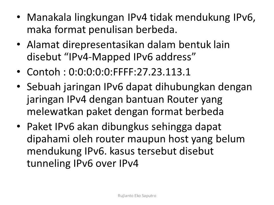 """Manakala lingkungan IPv4 tidak mendukung IPv6, maka format penulisan berbeda. Alamat direpresentasikan dalam bentuk lain disebut """"IPv4-Mapped IPv6 add"""