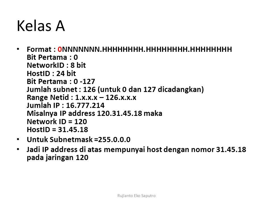 Kelas A Format : 0NNNNNNN.HHHHHHHH.HHHHHHHH.HHHHHHHH Bit Pertama : 0 NetworkID : 8 bit HostID : 24 bit Bit Pertama : 0 -127 Jumlah subnet : 126 (untuk 0 dan 127 dicadangkan) Range Netid : 1.x.x.x – 126.x.x.x Jumlah IP : 16.777.214 Misalnya IP address 120.31.45.18 maka Network ID = 120 HostID = 31.45.18 Untuk Subnetmask =255.0.0.0 Jadi IP address di atas mempunyai host dengan nomor 31.45.18 pada jaringan 120 Rujianto Eko Saputro