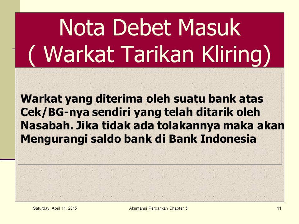Saturday, April 11, 2015 Akuntansi Perbankan Chapter 511 Nota Debet Masuk ( Warkat Tarikan Kliring) Warkat yang diterima oleh suatu bank atas Cek/BG-nya sendiri yang telah ditarik oleh Nasabah.