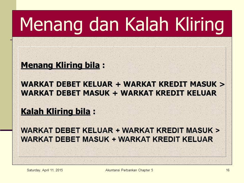 Saturday, April 11, 2015 Akuntansi Perbankan Chapter 516 Menang dan Kalah Kliring Menang Kliring bila : WARKAT DEBET KELUAR + WARKAT KREDIT MASUK > WARKAT DEBET MASUK + WARKAT KREDIT KELUAR Kalah Kliring bila : WARKAT DEBET KELUAR + WARKAT KREDIT MASUK > WARKAT DEBET MASUK + WARKAT KREDIT KELUAR