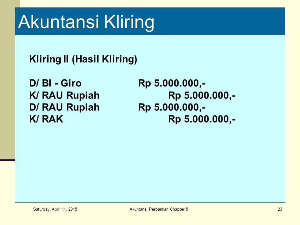 Saturday, April 11, 2015 Akuntansi Perbankan Chapter 523 Akuntansi Kliring Kliring II (Hasil Kliring) D/ BI - GiroRp 5.000.000,- K/ RAU RupiahRp 5.000.000,- D/ RAU RupiahRp 5.000.000,- K/ RAKRp 5.000.000,-