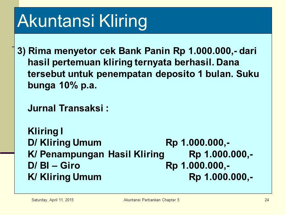 Saturday, April 11, 2015 Akuntansi Perbankan Chapter 524 Akuntansi Kliring 3) Rima menyetor cek Bank Panin Rp 1.000.000,- dari hasil pertemuan kliring ternyata berhasil.
