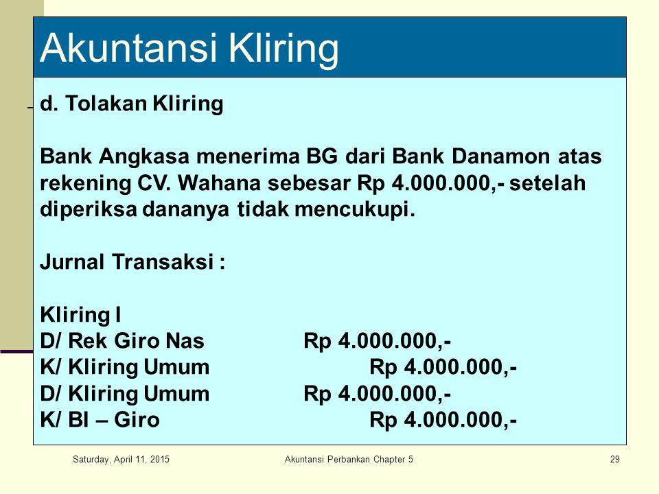Saturday, April 11, 2015 Akuntansi Perbankan Chapter 529 Akuntansi Kliring d. Tolakan Kliring Bank Angkasa menerima BG dari Bank Danamon atas rekening