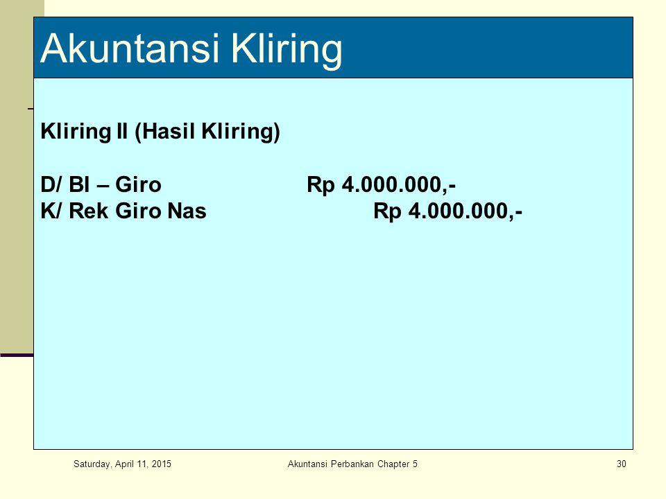 Saturday, April 11, 2015 Akuntansi Perbankan Chapter 530 Akuntansi Kliring Kliring II (Hasil Kliring) D/ BI – GiroRp 4.000.000,- K/ Rek Giro NasRp 4.000.000,-