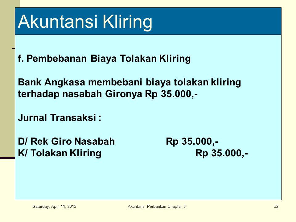Saturday, April 11, 2015 Akuntansi Perbankan Chapter 532 Akuntansi Kliring f.