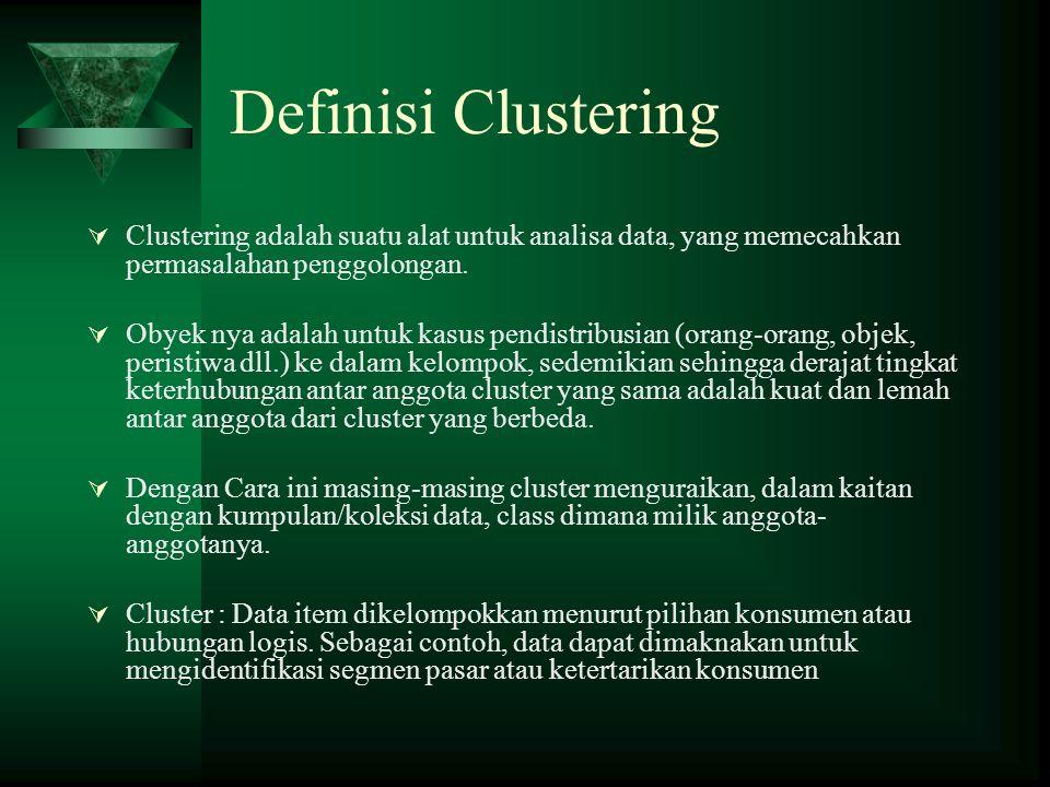 Definisi Clustering  Clustering adalah suatu alat untuk analisa data, yang memecahkan permasalahan penggolongan.